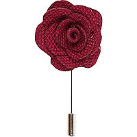 Dark red flower lapel pin