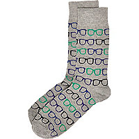 Grey geek glasses print socks
