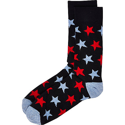 Blue marl star print socks