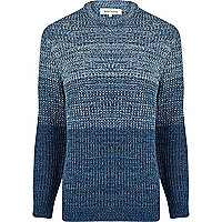 Blue twist knit ombre jumper