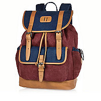 Navy and burgundy denim backpack