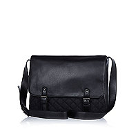 Black quilted panel flap over messenger bag