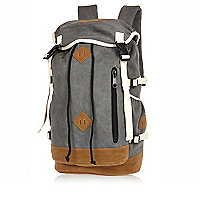 Grey contrast trim utility backpack