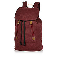 Dark red denim backpack