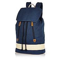 Navy blue denim backpack