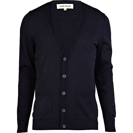 Navy V neck cardigan