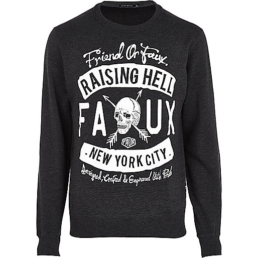 Grey Friend or Faux NYC skull print sweat