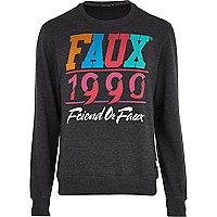 Grey Friend or Faux 1990 print sweatshirt