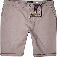 Grey skinny stretch chino shorts