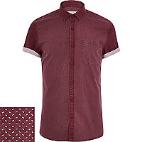 Dark red ditsy print panel shirt