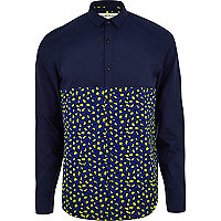Navy leopard print colour block shirt