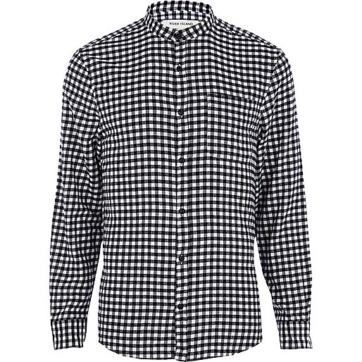 Black and white check grandad shirt