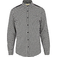 Black and white gingham shoulder patch shirt