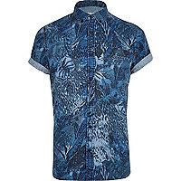 Blue abstract print short sleeve denim shirt