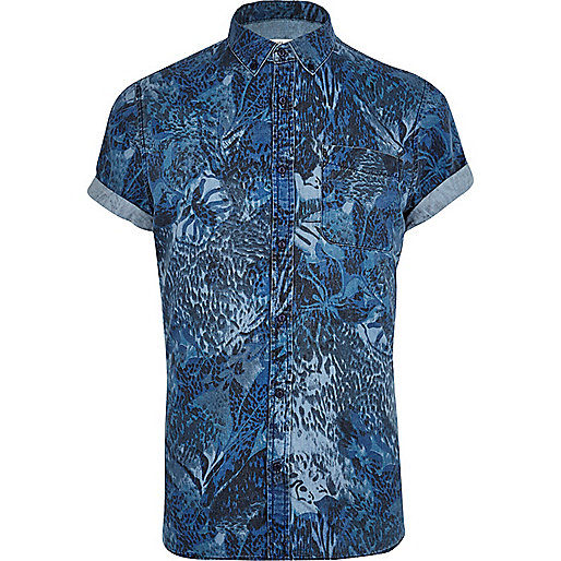 Blue abstract print short sleeve denim shirt