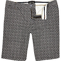 Grey ditsy print long shorts