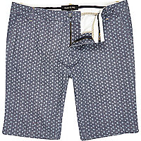 Blue ditsy print long shorts