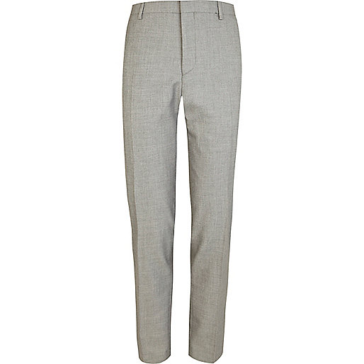 Light grey skinny suit pants