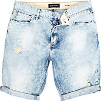 Light wash skinny ripped denim shorts