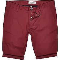 Dark red skinny stretch chino shorts