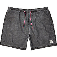 Grey neon cord mid length swim shorts