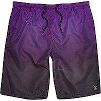 Purple dip dye long swim shorts