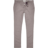 Light grey skinny stretch chino shorts