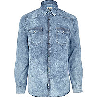 Light acid wash denim shirt
