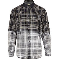 Black ombre check denim shirt
