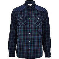 Navy check denim shoulder patch shirt