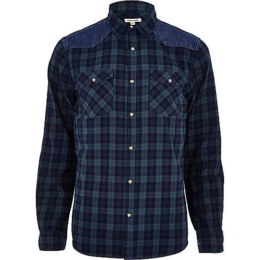 Navy check denim shoulder patch shirt