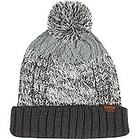 Grey cable knit colour block beanie hat