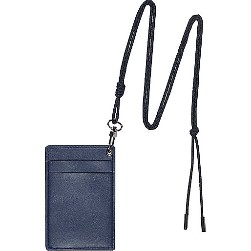Navy lanyard card holder