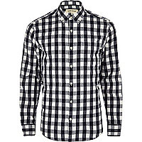 Navy brushed check shirt