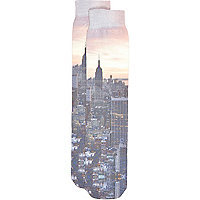 Blue New York sublimation print socks
