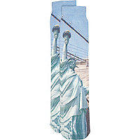 Grey New York print socks