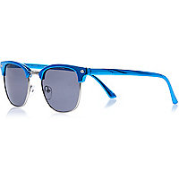 Blue metallic retro sunglasses