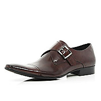 Dark red formal monk strap shoes