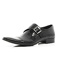 Black formal monk strap shoes