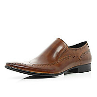 Brown slip on wingtip brogues