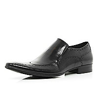 Black slip on wingtip brogues