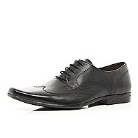 Black stitched detail square toe formal shoes