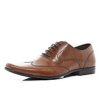 Brown stitched detail square toe formal shoes