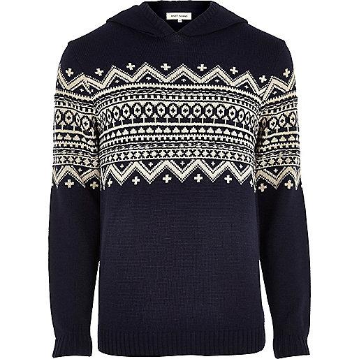 Navy fair isle knitted hoodie