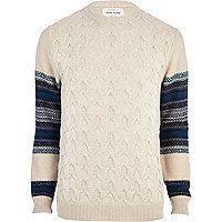 Ecru textured contrast sleeve jumper