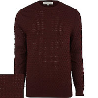 Dark red textured jumper