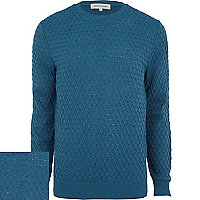 Teal textured jumper