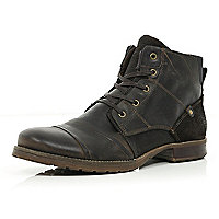 Dark brown panelled military boots