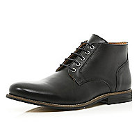 Black formal round toe boots