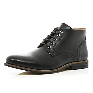 Black leather formal round toe boots